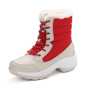 Mid-calf Winter Boots Women Warm Shoes Snow Boots Waterproof Anti-skid Lady Winter Sneakers Plush Shoes Plus Size 43