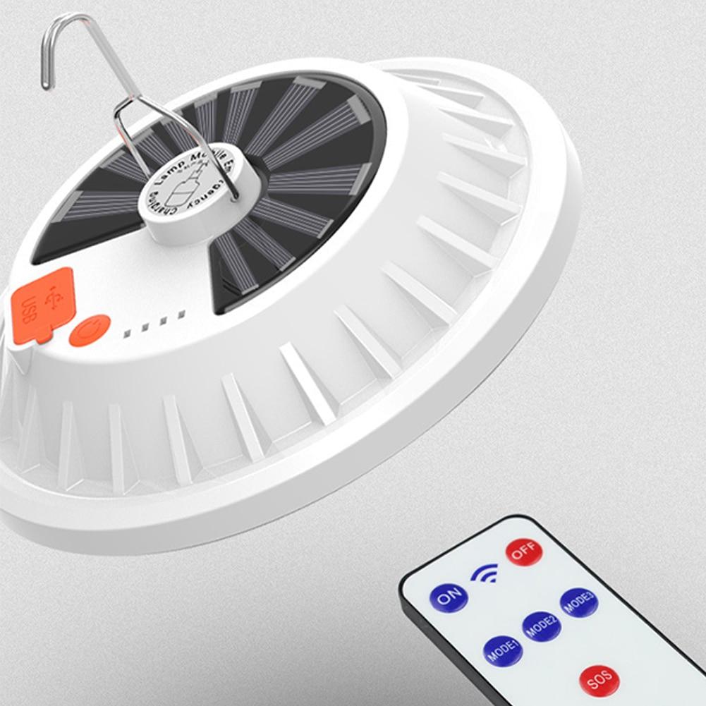 Светодиодная лампа с аккумулятором и дистанционным управлением, Переносной Фонарь с солнечной батареей для экстренных ситуаций, светильни...