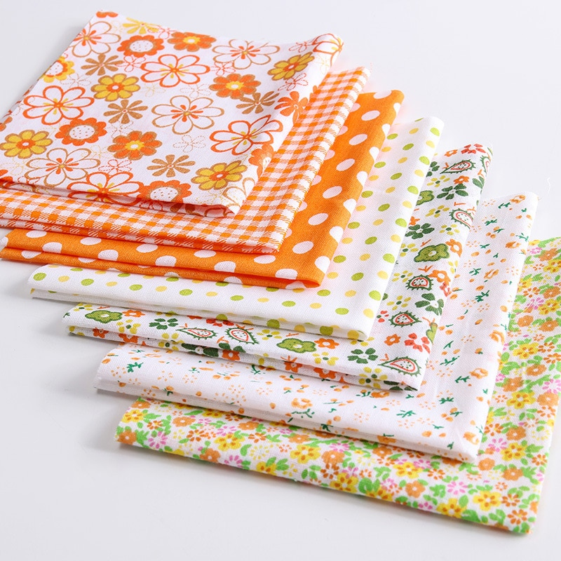 7 Pcs/Set 25*24CM Cotton Flower Pattern Fabric for Household DIY Handmade Patchwork Cloth Multi Purpose Sewing Supplies