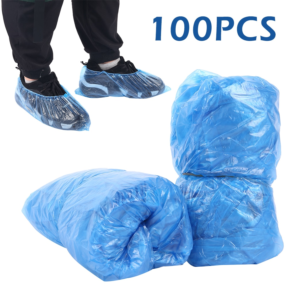 300PCS Blue Plastic Disposable Shoe Covers Rain Outdoor Carpet Waterproof Shoe Cover Dispenser Cycling Overshoes Protector enlarge