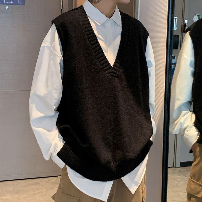 Осенний свитер с V-образным вырезом, жилет, мужской теплый Модный повседневный вязаный пуловер, мужской Корейский свободный свитер без рука...
