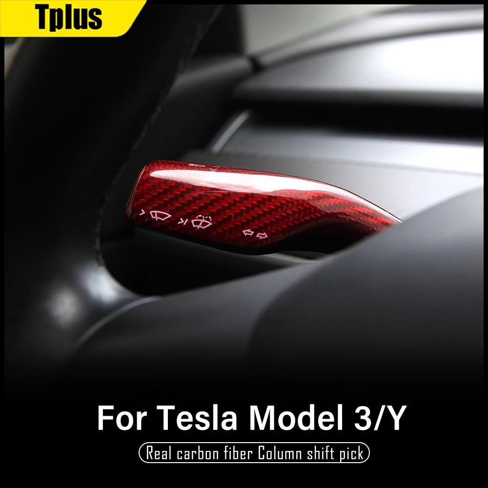 Car Decorative Wheel Steering Rod Patch For Tesla Model 3 2021 Real Carbon Fiber Accessories Model Y Steering Light Controller enlarge
