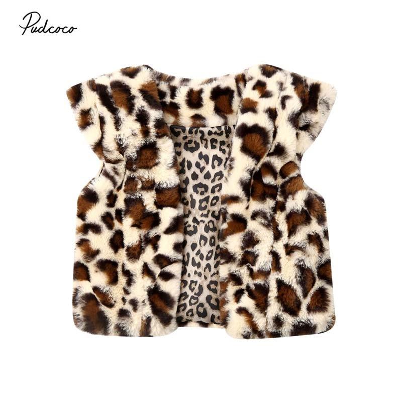 2019 marca Cute 1-6Y niño pequeño niños niña cálido Chaleco de leopardo borroso abrigo invierno nuevo chaleco de terciopelo chaqueta Chaleco de piel