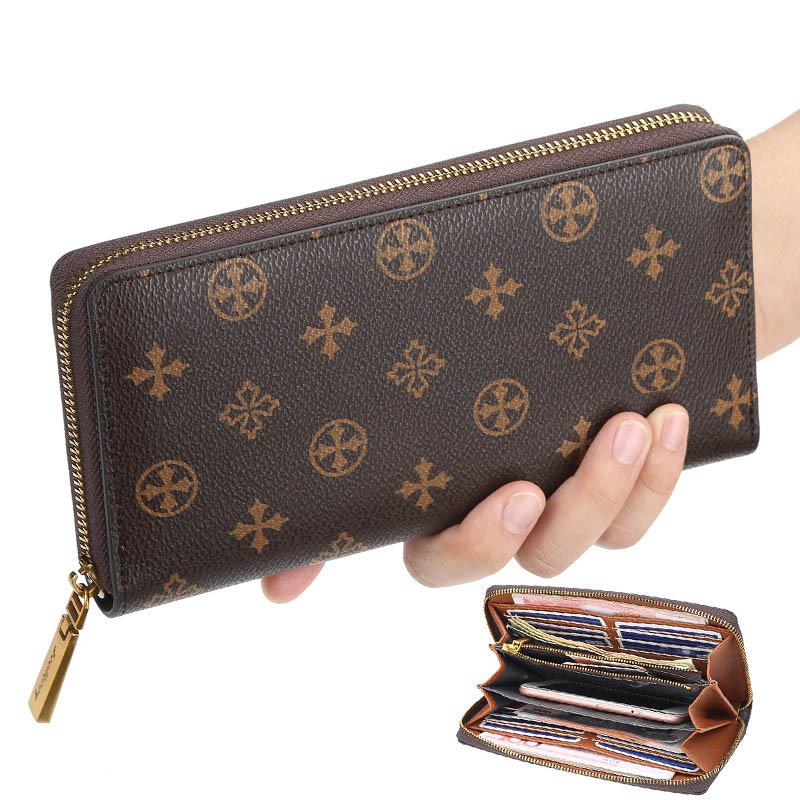 Retro Women's Wallet and Purse Multi-functional Long Purse Zipper Phone Wallet Louis Money Luxury Designer Card Holder