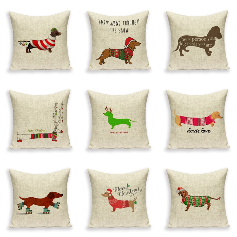 Feliz funda de cojín de Navidad perro salchicha para sofá Lino estampado cojín funda de almohada asiento de coche fundas de almohada cojín decorativo