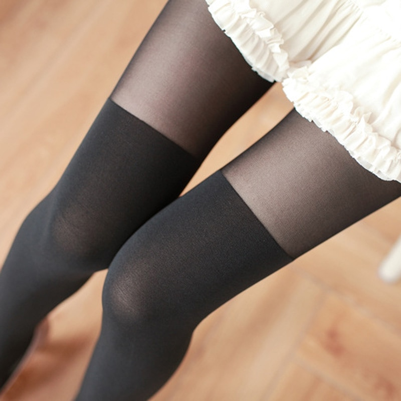 Women Knee Tights Patchwork Stitching Pantyhose Stocking Elastic School Student Solid Female High Tights Pantyhose Medias
