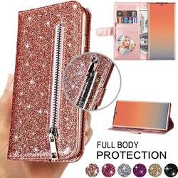 Moda glitter slots de cartão flip caso carteira de couro para samsung s6 s7 s8 s9 s10 s20 plus s20fe 5g nota 8 9 10 caso capa