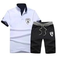 2019 men outdoor summer short sleeve t shirt and shorts 2 piece suit sportswear beach pants ball suit men track suit set shirt