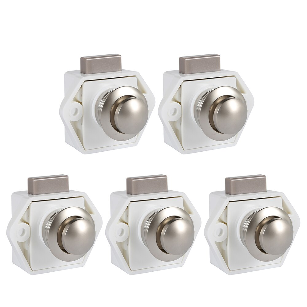 5PCS Push Button Catch Box Lock Camper Car Push Lock Home Cupboard Door Cabinet Drawer Latch Button Locks for Furniture Hardware