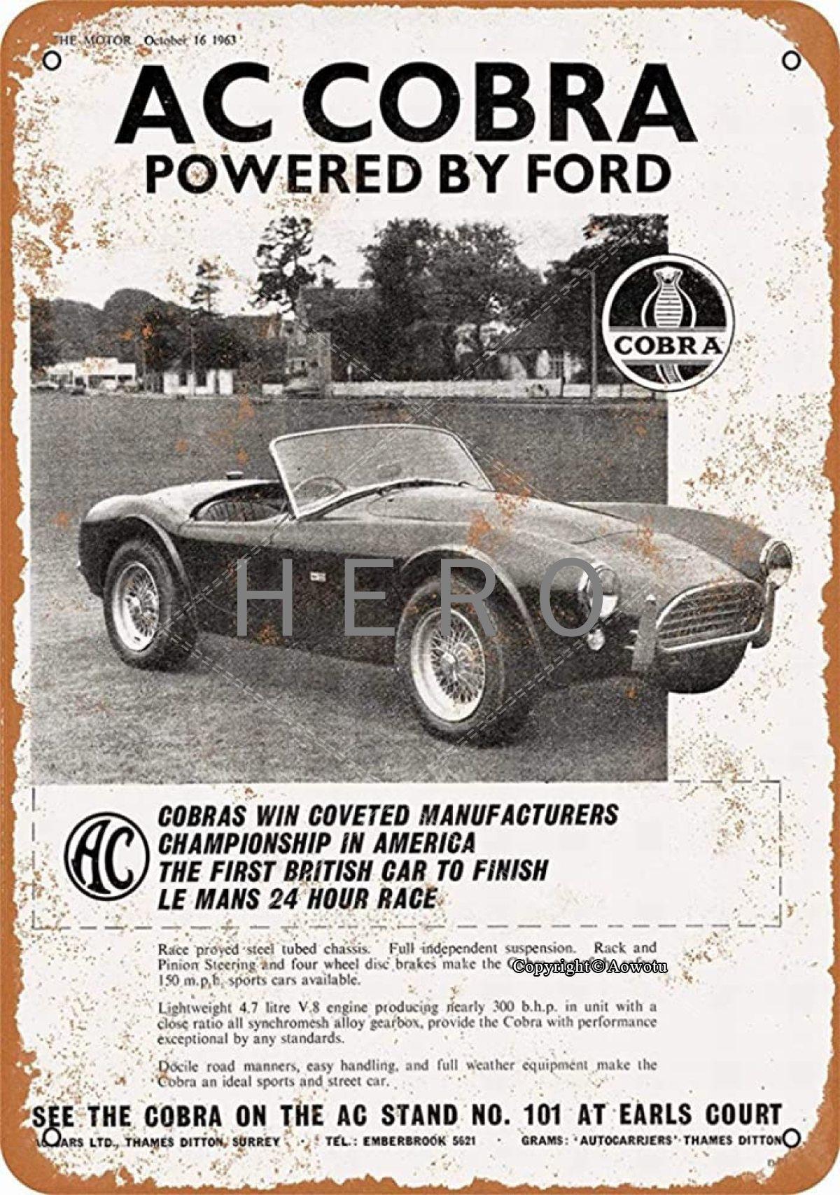 AC Cobra coche cartel de hojalata Vintage arte de pintura Rusty decoración...
