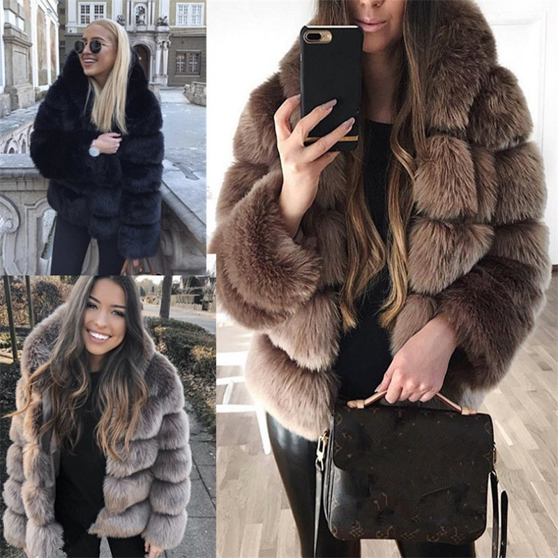 New Style Thick Warm Fur Faux Fur Winter Outwear Women Black Brown Dark Grey Slim Short Plus Size Faux Leather Coat and Jacket