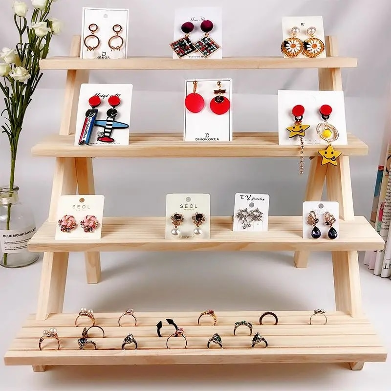 Wooden Jewelry Display Stand Jewelry Shop Decor Earrings Ring Hanger Organizer Holder Storage Wood Base Home Women Gifts