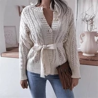 women warm single breasted open front long sleeve sweater with waistband solid color twist knitted cardigan autumn winter