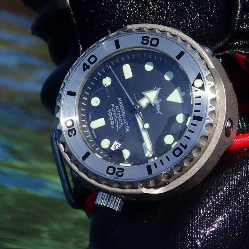 HEIMDALLR الرجال التونة الغوص ساعة 1000 متر مقاوم للماء الذهبي مطلي الأسود PVD المغلفة Case NH35A التلقائي الميكانيكية ساعة الغوص