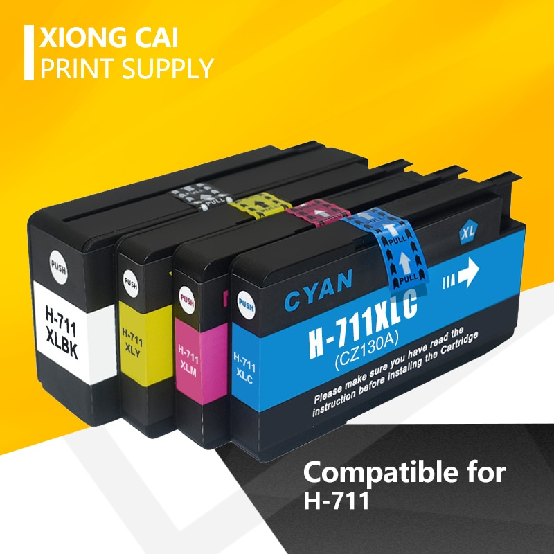 Peças Compatíveis para HP711 4 711 para HP Cartucho de Tinta para HP DesigJet 711XL T120 T520 T120 24/ T120 610/ T520 24/ T520
