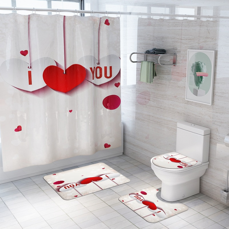 I Love You White Valentine Shower Curtains Bathroom Curtain Set Anti Slip Pedestal Rug Lid Toilet Cover Bath Mat Set with Hooks