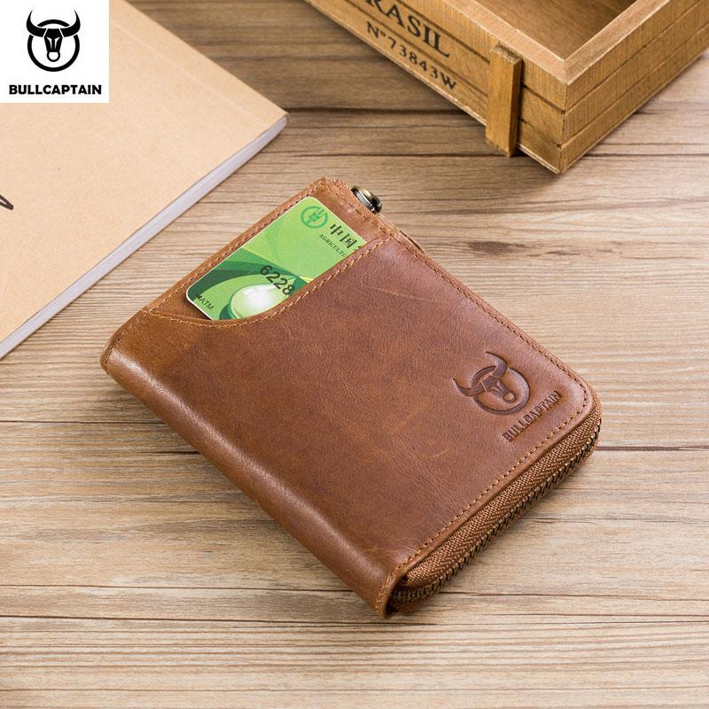 Portefeuille Rfid en cuir BULLCAPTIAN portefeuille à fermeture éclair pour homme portefeuille porte-monnaie court style rétro