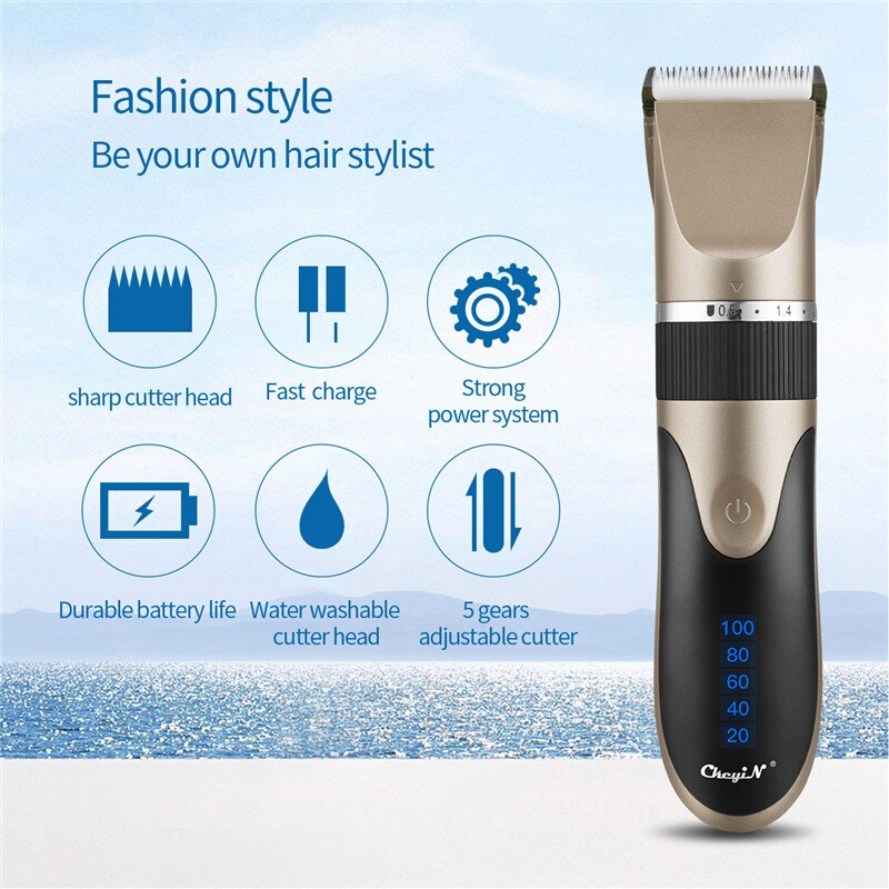 USB Rechargeable Ceramic Hair Clipper Electric Men Barber Hair Cutting Machine Trimmer Shaver Cordle