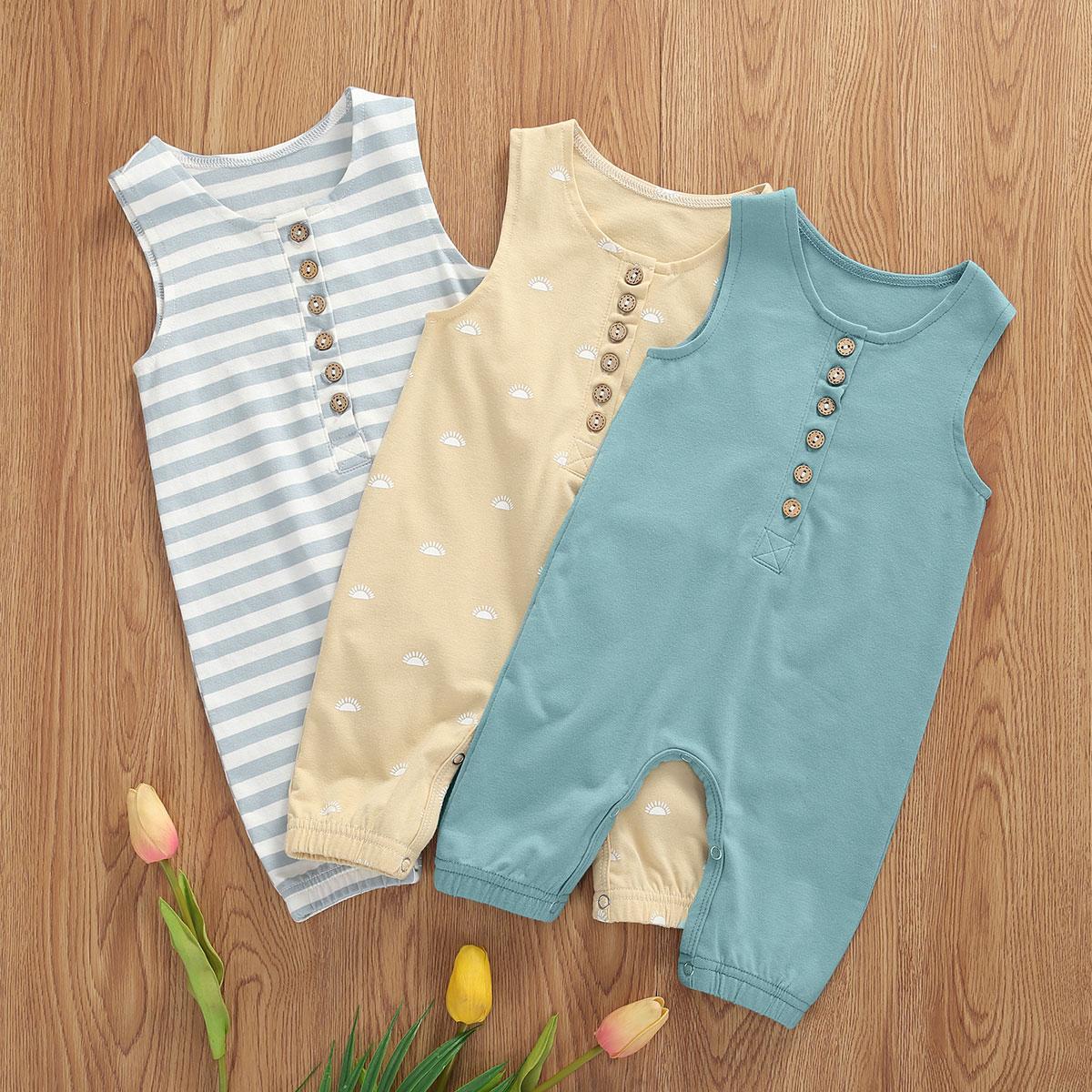 Summer Baby Romper Newborn Boys Girls Clothes Infant Soft 1 Piece Sleeveless Jumpsuit Cotton Clothing