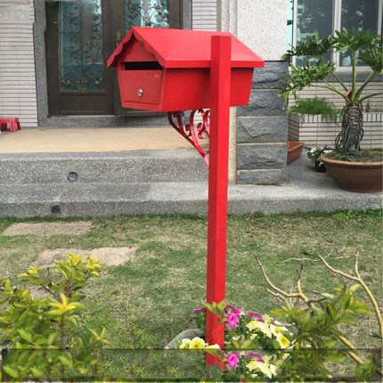 European Metal Mail Box Outdoor Rain Floor Decoration Mail Box Mailbox Red With Lock Can Be Printed Letter Box Sale