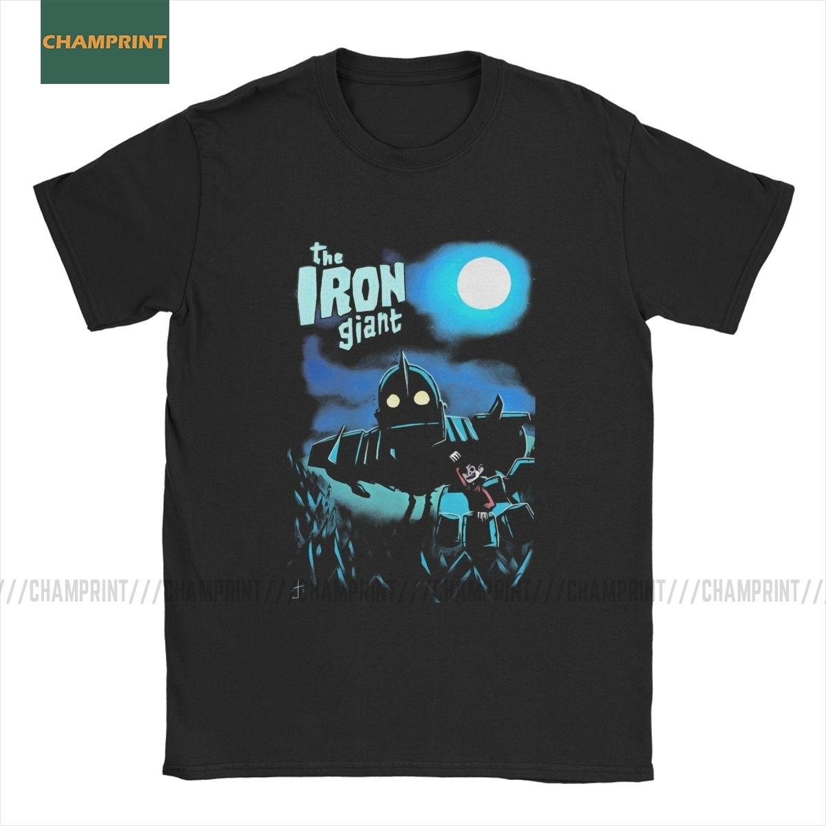 Novedad The Iron Giant Camiseta Hombre cuello redondo Algodón puro camisetas Robot animación dibujos animados Hogarth Hero camisetas de manga corta tamaño grande