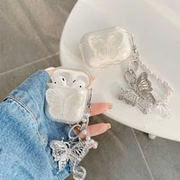 cute with chain cover for apple airpods 1 2 3 case luxury butterfly keychain earphone case for airpods pro case hearphone box