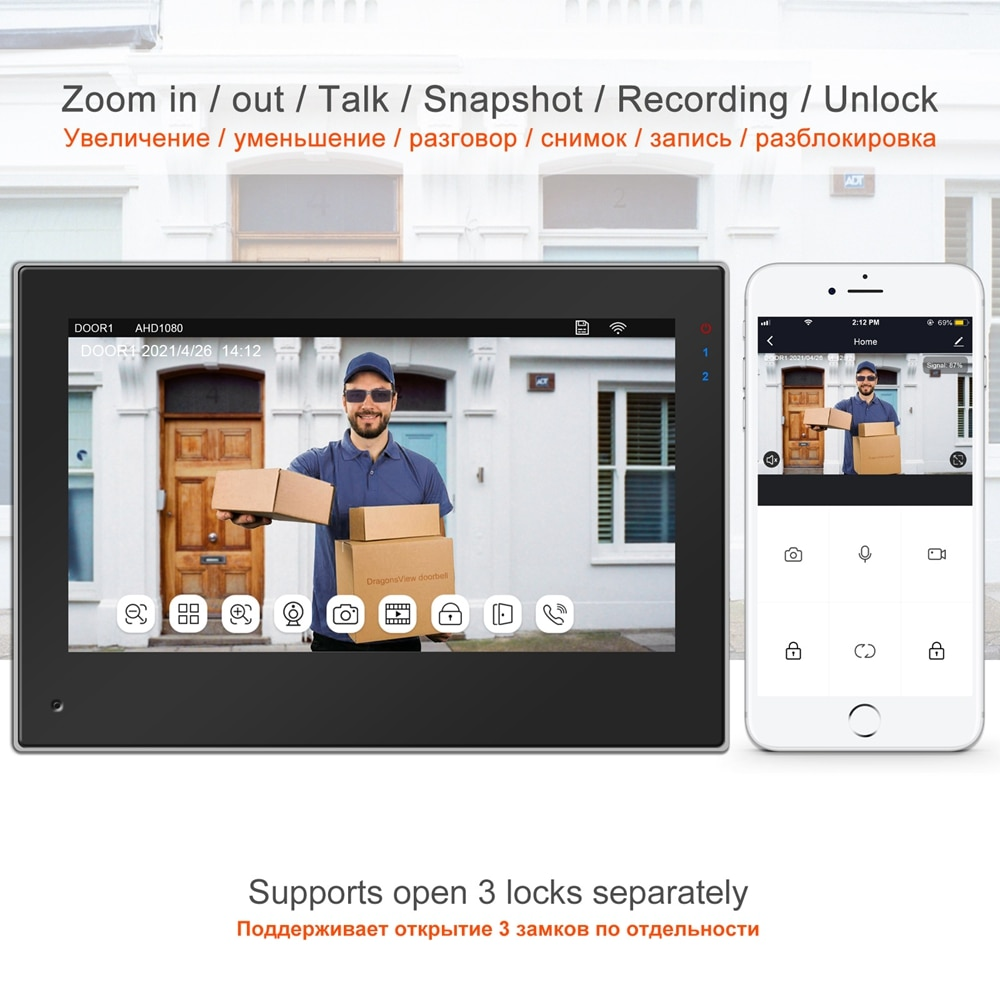 TUYA Smart WIFI Video Intercom for Home Wireless IP Door Phone Intercom System  Touch Screen Monitor 1080P  Doorbell RFID Unlock enlarge