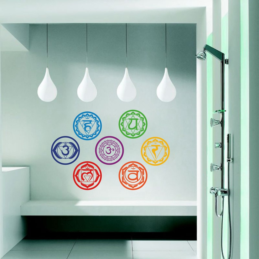 7PCS/set Chakras Wallpaper Stickers Mandala Yoga Om Meditation Symbol Sticker Wall Decals Chakra Home Wall Stickers Decorations