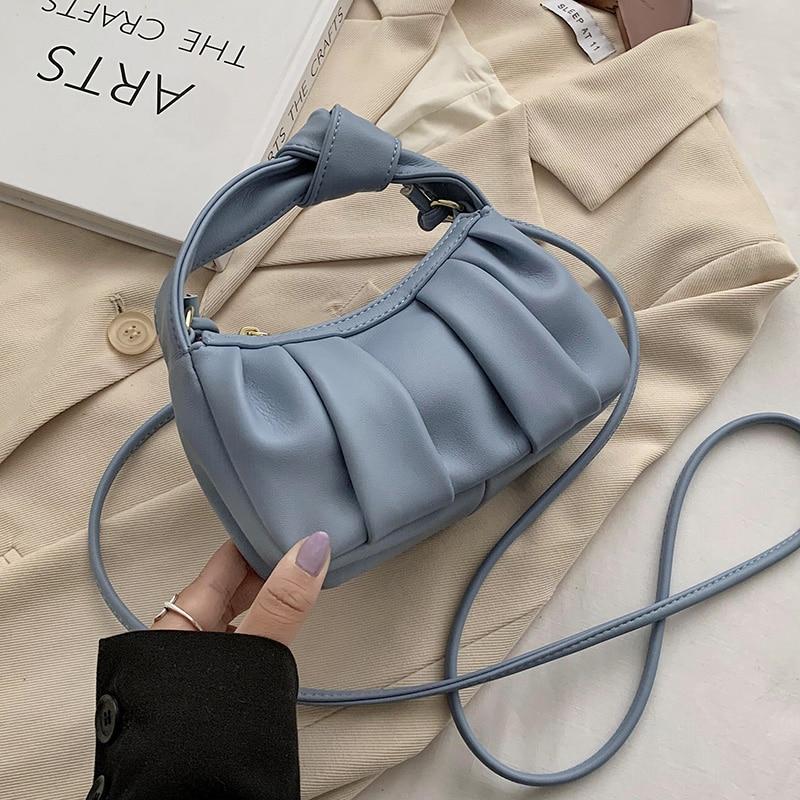 Folds Designer MiniPU Leather Crossbody Bags For Women 2020 Trend Shoulder Handbags Branded Women's Hand Bag Grils Totes