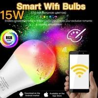 Lampe Led RGB intelligente avec telecommande WiFi IR 15W  veilleuse  fonctionne avec Alexa Google Home Assistant  Table magique intelligente
