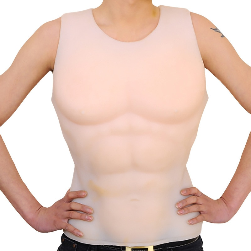 7800g Artificial Silicone Fake Pectoralis Vest Realistic Abdominal Muscle Boxing Belly Simulation Waist Shaper Sexy Bodysuit