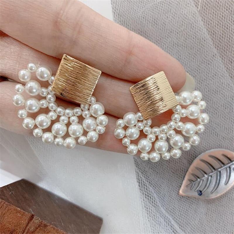 Simulated Pearl Stud Earrings Women Bohemian Geometric Earrings Wedding Jewelry Korean Earrings