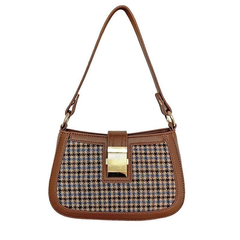 2020 New Retro Half-Moon Women Bag Check Small Handbag Brand Design Ladies Shoulder Bag Vintage Plaid Crossbody  Axillary Packag