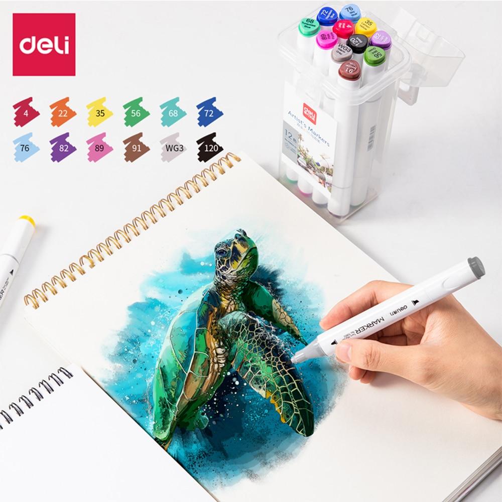 Deli Markers Pen 12/24 Color Sketch Art Marker Brush Set Double Tips Alcoholic Pens For Artist Manga Markers Art Supplies School