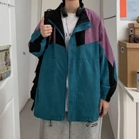 spring pullover jacket mens fashion loose rack jackets mens hit color casual hooded jacket streetwear hip hop bomber jacket men
