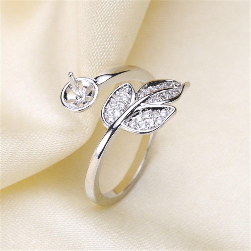 Venta mayorista, Perla de agua dulce y montaje de anillo plateado, accesorio de ajuste de anillo de estilo de moda, Perla/Cristal, cuenta de piedra
