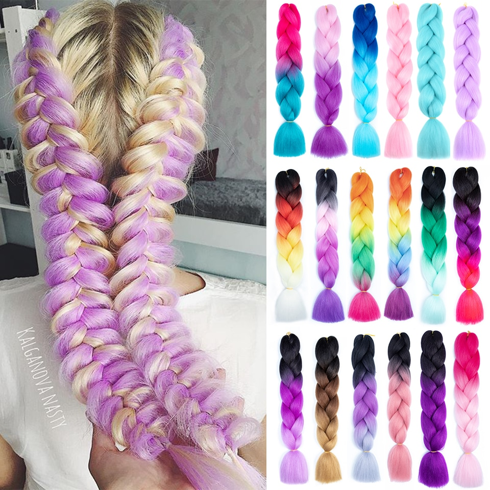 Ombre Braiding Hair Synthetic Hair Extensions for Braids Xpression Braiding Jumbo Braid Hair 24 Inch 100g Reshowbeauty