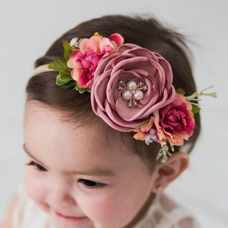 fashion multi color simulation rose flower baby stretch headband newborn photography props infant toddler hair band Sweet Baby Girl Fashion Cute Headband Hair Accessories Newborn Infant Princess Simulation Flower Hair Band Kids Elastic Headwrap