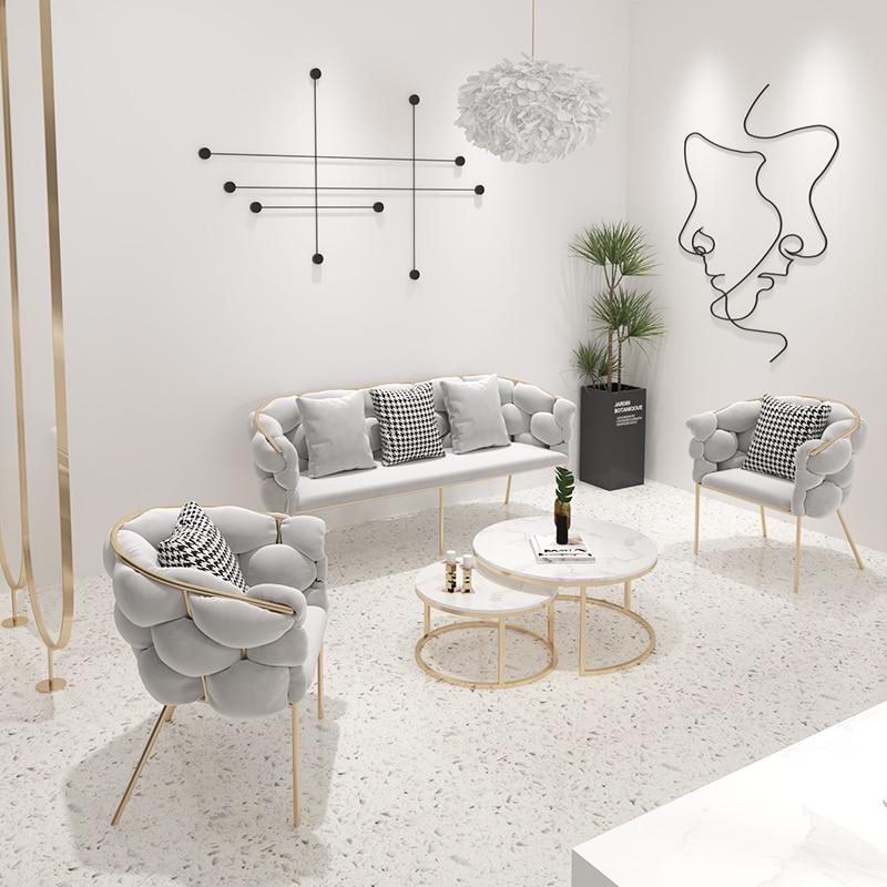 Офисный стул в скандинавском стиле на заказ, комбинированные кофейные стулья для балкона с тремя сиденьями, Простой деловой приемник, диван...