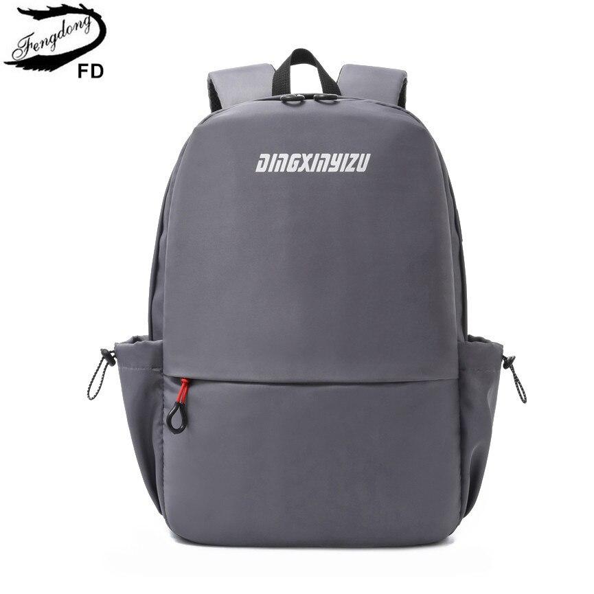 Fengdong school bags for teenage boys waterproof lightweight nylon book bag usb charge travel backpack men small bagpack