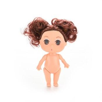 """1 Pcs Mini Puppe Für Mini Ddung Puppen Mit Blond Braun Brötchen Haar Backen Mold Puppen Mädchen Spielzeug Geburtstag Geschenk für Mädchen 9cm 3.5"""""""