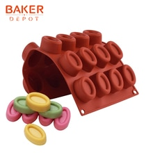 BAKER DEPOT silikon form für donut schokolade oval form cookies keks kuchen gebäck backen werkzeug candy gummy ice tray DIY KUCHEN
