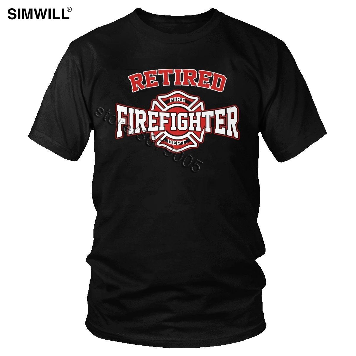 Moda urbana Retired Fighter Tee hombres algodón Fire Rescue Hero Camiseta de manga corta de bomberos camiseta regalo Idea Ropa Camisetas