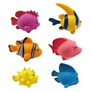 Baby Bath Toys Finding Fish 6pcs Cartoon Fish Kids Float Spray Water Squeeze Aqua Soft Rubber Bathroom Play Bath Toy For Child