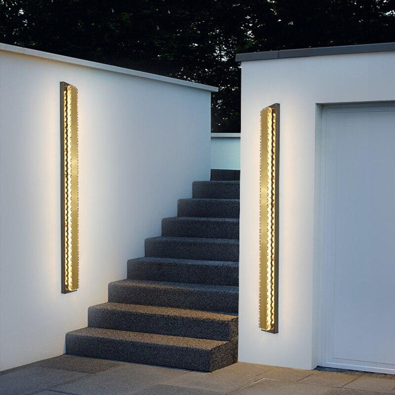 Stainless steel crystal Waterproof outdoor wall lamp LED Long Wall light IP65 courtyard Light Garden Villa porch Sconce Light enlarge