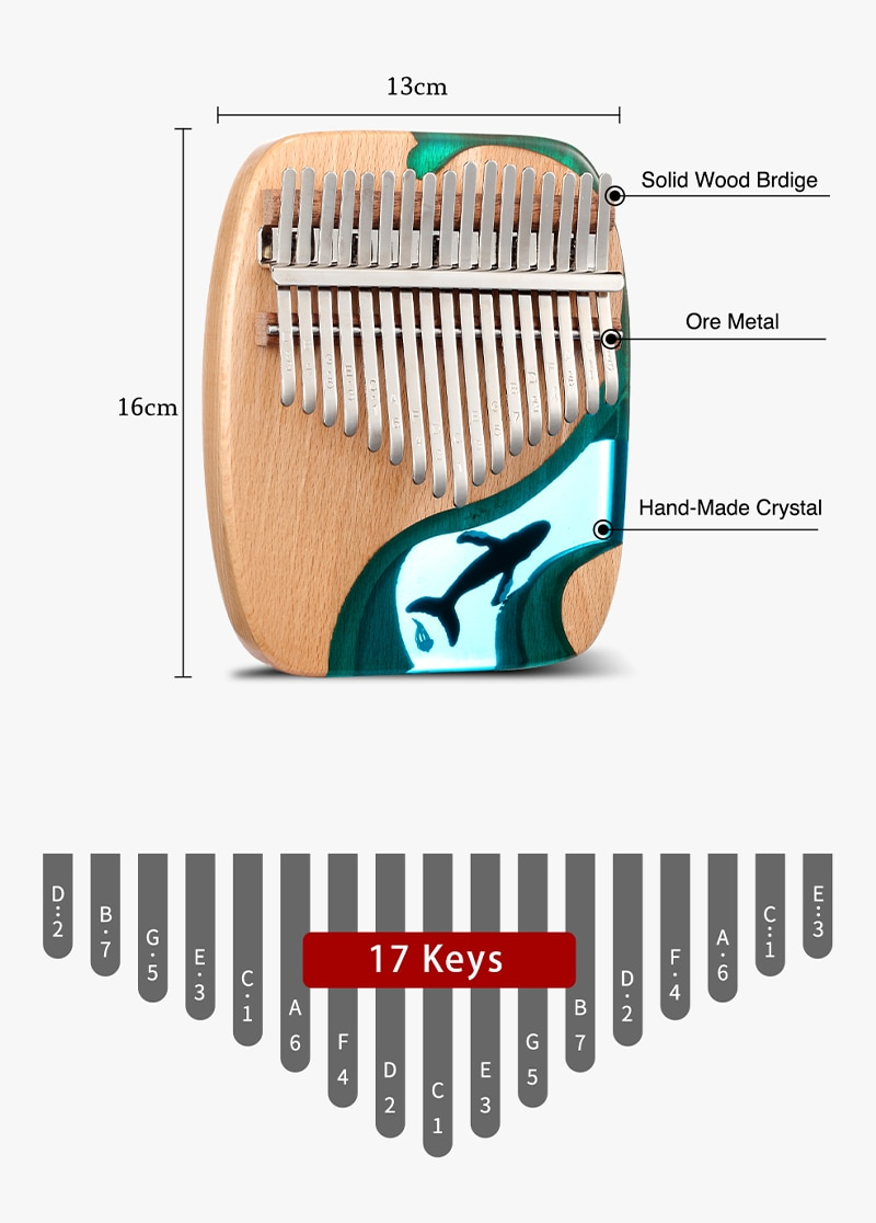 17 21 Key Wooden Thumb Piano Gecko Musical Instrument Gift With Accessories Solid Wood Ocean Whale Dolphin enlarge