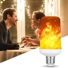 99LEDs E27 lámparas de llama 15W 85-265V 4 modos ampolla LED efecto llama bombilla parpadeante emulación fuego luz amarillo/azul llama