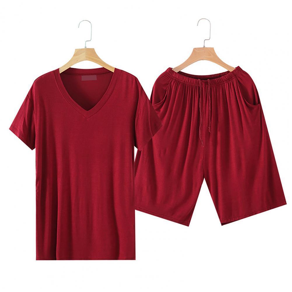 Домашняя одежда короткий рукав дышащий вискоза мужские короткие рукав шорты пижамы для дома