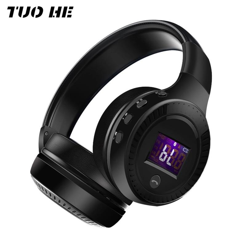 B19 Kopfhörer LED Screen Display FM Radio Wireless Bluetooth Headset HIFI Stereo Headsets Für Computer Telefon Unterstützung TF Aux