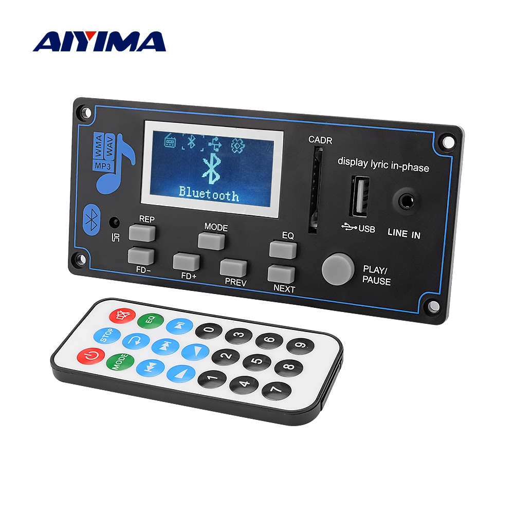 AIYIMA 12V LCD Bluetooth MP3 Decoder Board WAV WMA Decoding MP3 Player Audio Module Support FM Radio